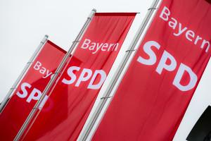 SPD-Flaggen im Wind